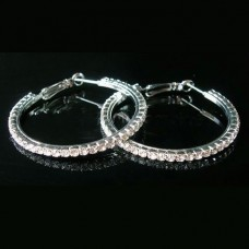 Silver Earrings Rings In Various Sizes, Decorated With Austrian Crystals
