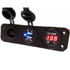 Three Hole Panel Power Socket+Dual USB Car Charger Socket+Voltmeter