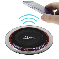 Media-Tech Crystal Wireless Charger For Smartphones, Micro Usb Socket, 1000ma
