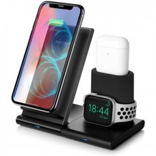 Detachable Qi Universal Smart Wireless Phone Charger + Apple Watch / Airpods Charger 3 In 1 - Black Oem