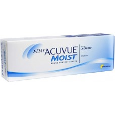 Acuvue Contact Lenses 1-Day Moist For Myopia/Hyperopia 30 Lenses Clear