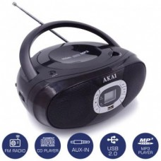 AKAI BM004A-614 PORTABLE RADIO CD PLAYER BLACK