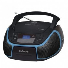 Audioline Portable Radio MP3 CD and USB with Illuminated Display CD-96 Black with Blue